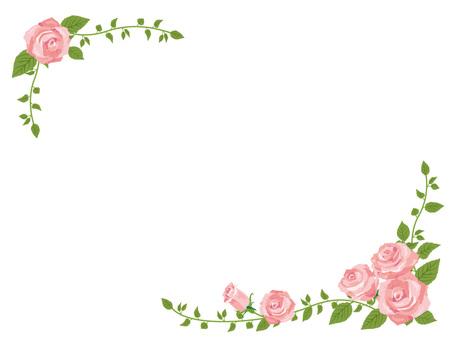 핑크 장미의 대각선 프레임 테두리 02