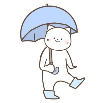 Cat walking with umbrella