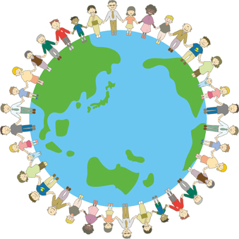 World peace illustration of people holding hands
