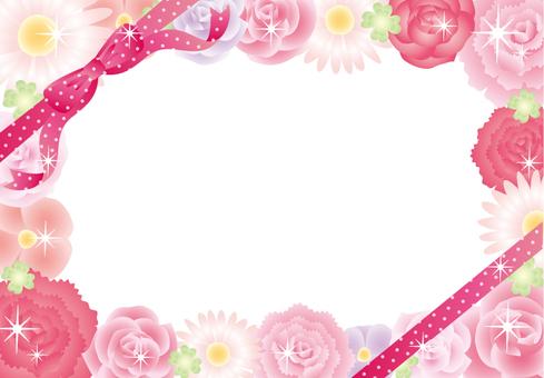 Flower assembly frame ribbon (plain pink)