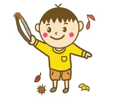 Children enjoying chestnut picking ♪