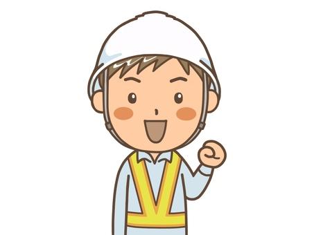 Male worker wearing a helmet