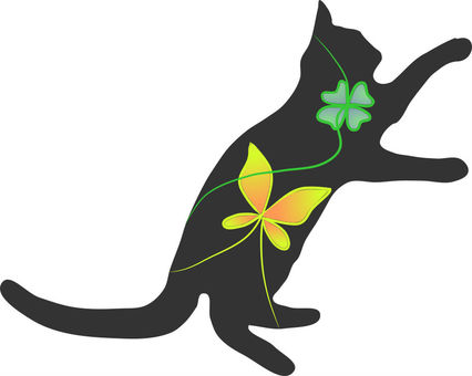 Nyanko silhouette. Butterfly and Clover