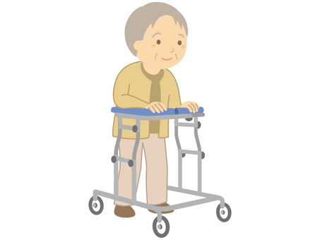 Elderly people using walkers