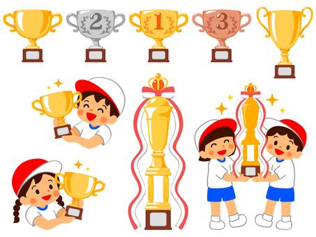 Set of trophies