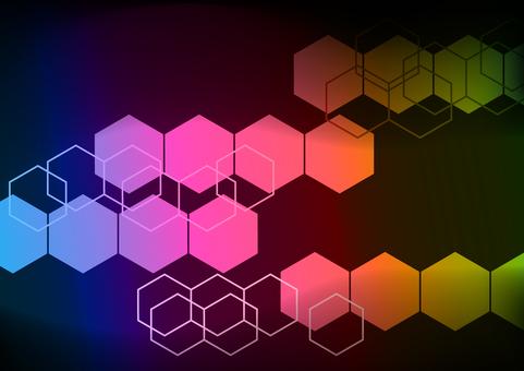 虹色の幾何学六角形抽象背景素材