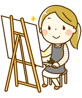 A girl drawing a picture