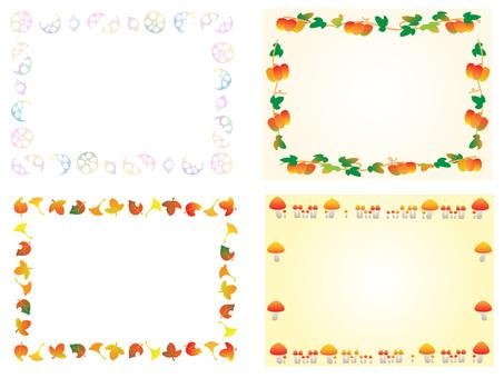 연근 호박 낙엽 버섯 장식 프레임