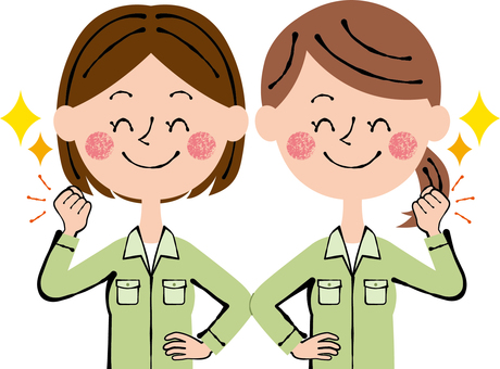 Two female guts posing workers green smile