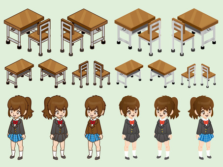 Girl and desk parts