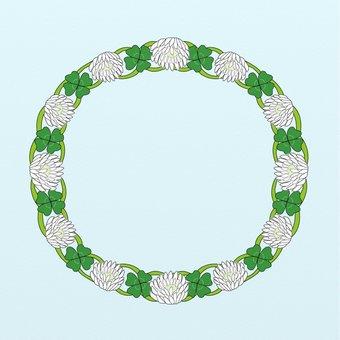 네 잎 클로버와 白詰 잔디 화관