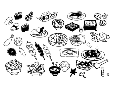 Japanese illustration set (line drawing)