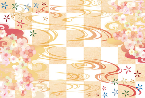 Spring plum design Japanese pattern pop