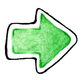 Green watercolor arrow