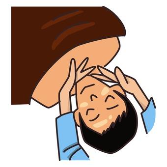 Men receiving face massage