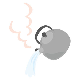 Kettle pouring boiling water