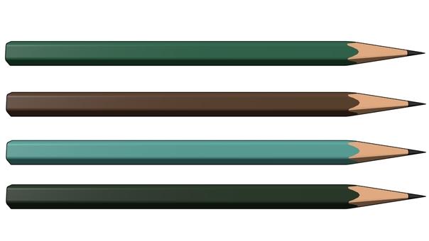 鉛筆(深緑・水色・茶・緑)