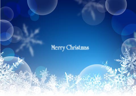 Christmas frame snow crystal blue