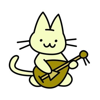 Cat playing biwa