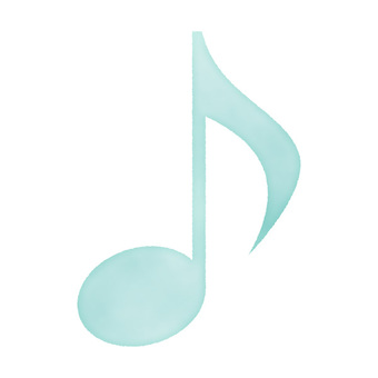 Watercolor hand drawn style musical note blue / turquoise blue