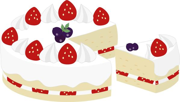 Strawberry whole cake and cut cake