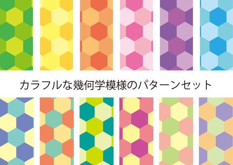 Pattern set of colorful geometric pattern