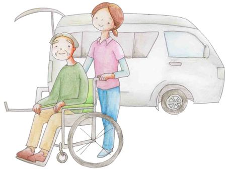 Transportation by long-term care vehicle (old man)
