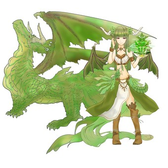Dragon anthropomorphic green