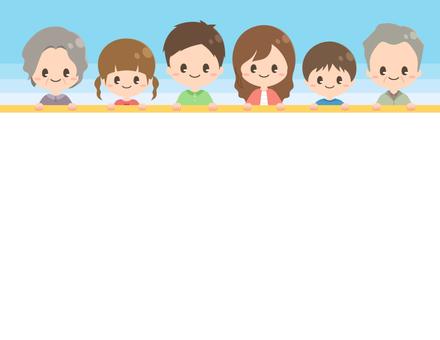 一列に並ぶ家族のフレーム