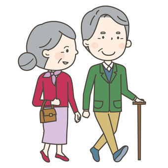 An old couple going out