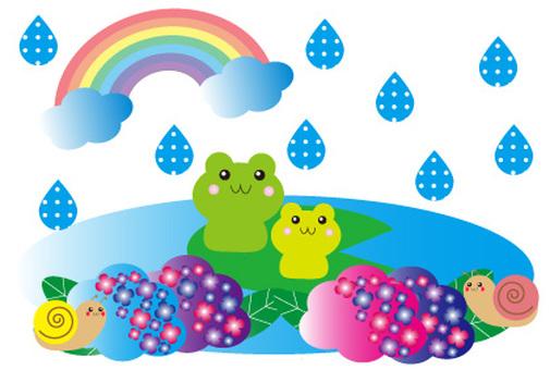 Hydrangea and rain