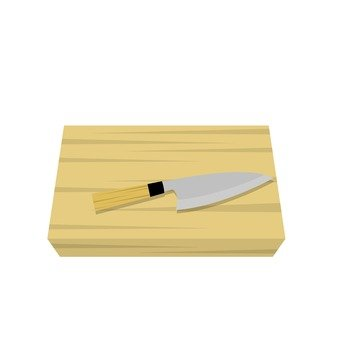 Cutting board and kitchen knife