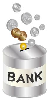 Coin and piggy bank (silver color, English letters)