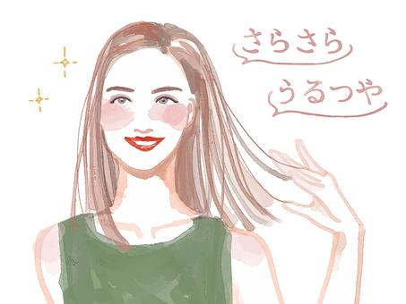 Illustration of a pretty woman with hair