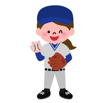 Girls wearing baseball uniforms