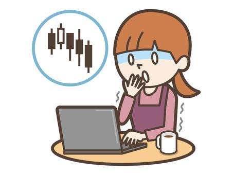 젊은 주부 컴퓨터 투자 폭락