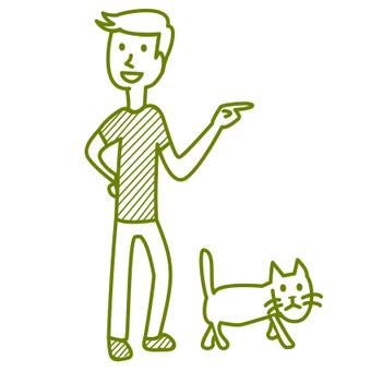 Boys walking cats
