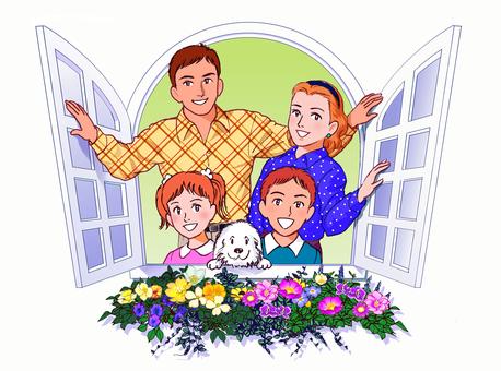 Family on the windowsill