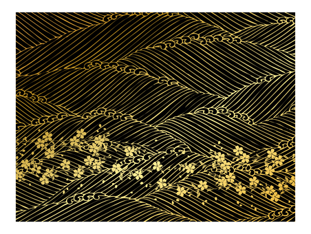 Japanese pattern golden waves and flowers