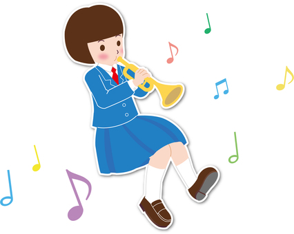 Trumpet and girl