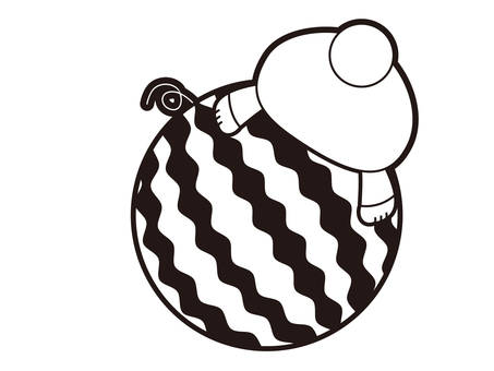 Rear figure of an animal riding a watermelon Black and white
