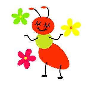 꽃잎과 장난 치는 벌레