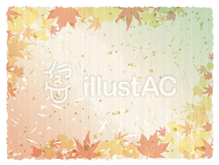秋もみじ背景壁紙柄挨拶状和紙和風紅葉金箔イラスト No 1184939無料