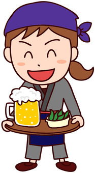 Illustration of a female clerk at a pub