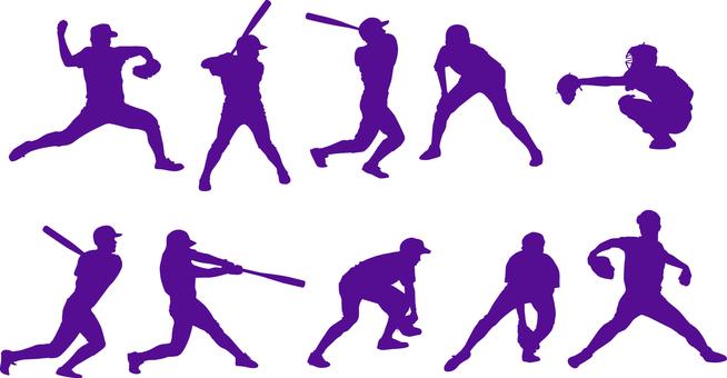 Baseball player _ Silhouette _ Set _ 01 _ purple
