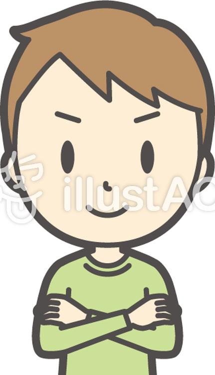 男の子グリーン長袖-364-バストのイラスト