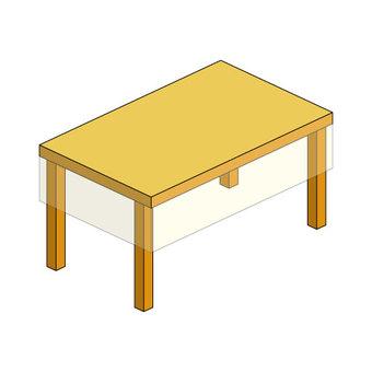 테이블 (투명 크로스 포함)