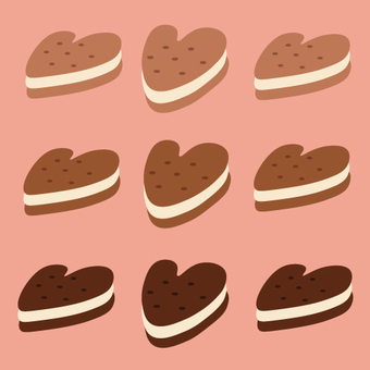Heart cookie color difference set