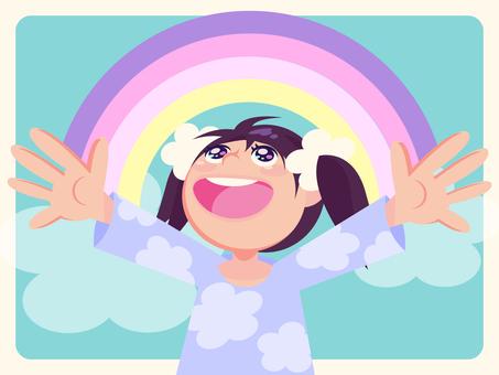 虹と女の子