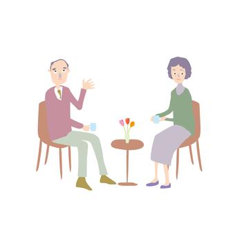 Family Senior Couple Cafe 2